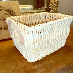 """Other - White Wicker Basket Tan Suede Handles 11""""x 6"""" x 8"""""""